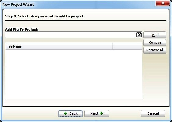 Add Files to Project - New Project Wizard