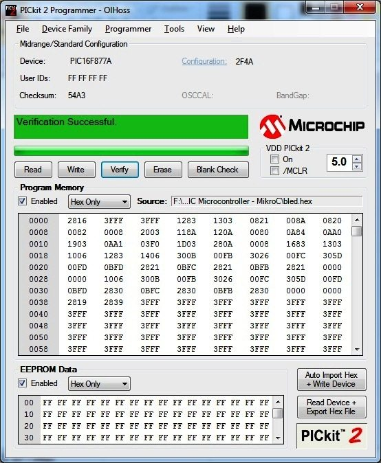 After Verification - PICKit2 Programmer Tool