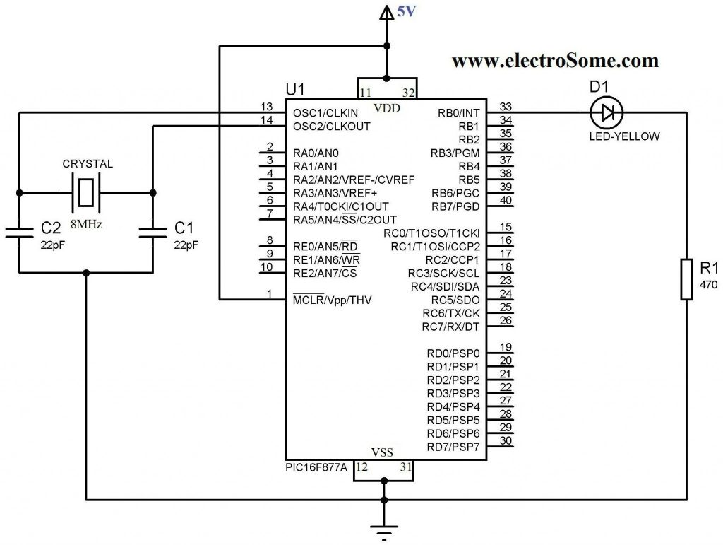 Blinking LED using PIC Microcontroller - Circuit Diagram