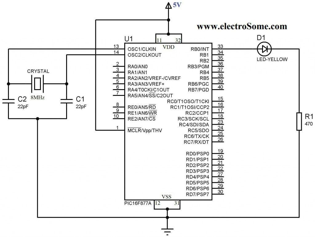 Blinking LED using PIC Microcontroller - Circuit Diagram