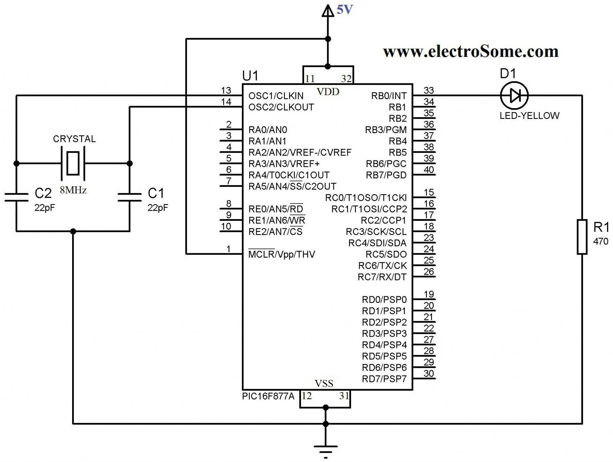 Led Blinking With Pic Microcontroller Mplab Xc8 Compiler 7805 Pin Diagram Using Circuit