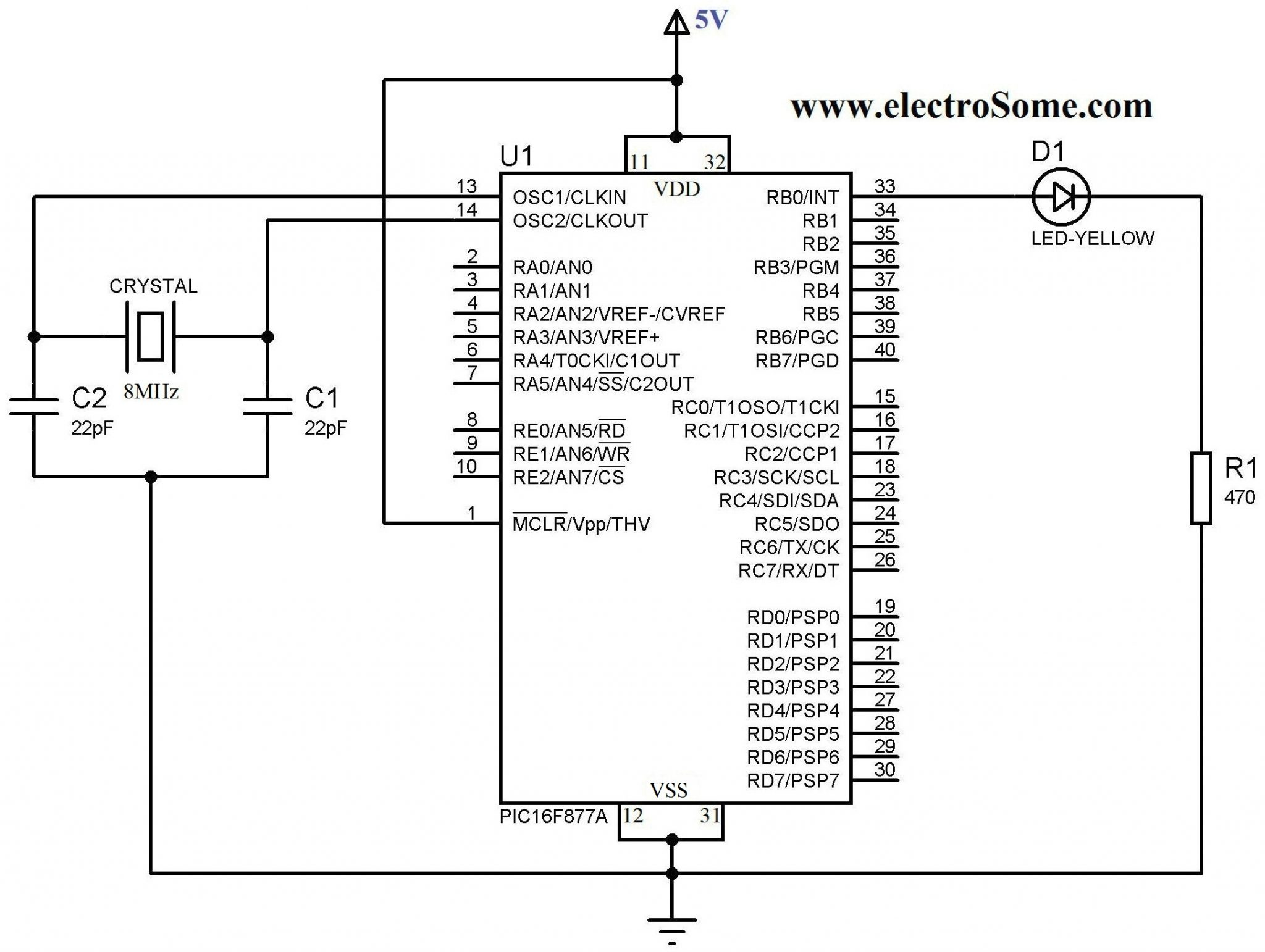 led wiring diagram 120v fluorescent tubes led blinking with pic microcontroller - mplab xc8 compiler blinking led ckt diagram