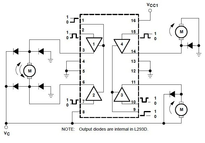 L293d Quadruple Half H Bridge Dc Motor Driver