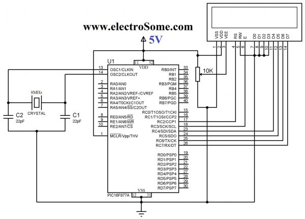 Interfacing LCD with PIC Microcontroller Circuit Diagram