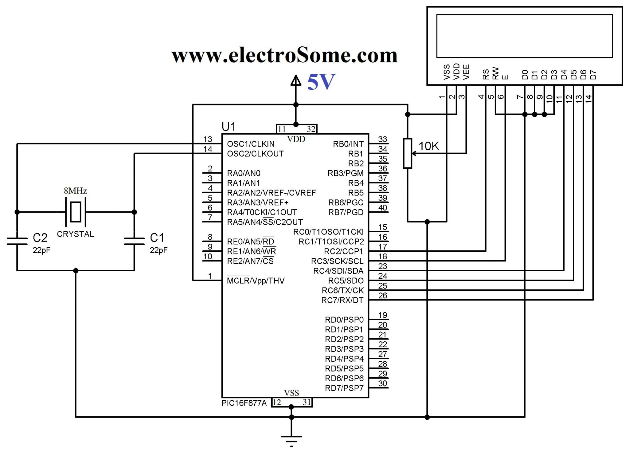 Lcd Interfacing With Pic Microcontroller Mikroc Pro Make A Digital Thermometer Circuit Ic Ds18b20 18f4550 Diagram