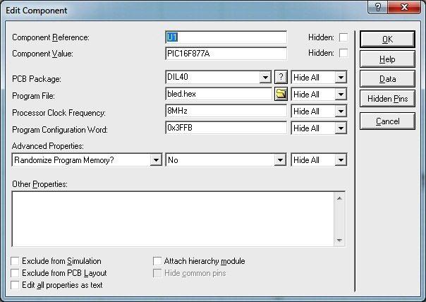 Proteus Edit Component - PIC 16F877A