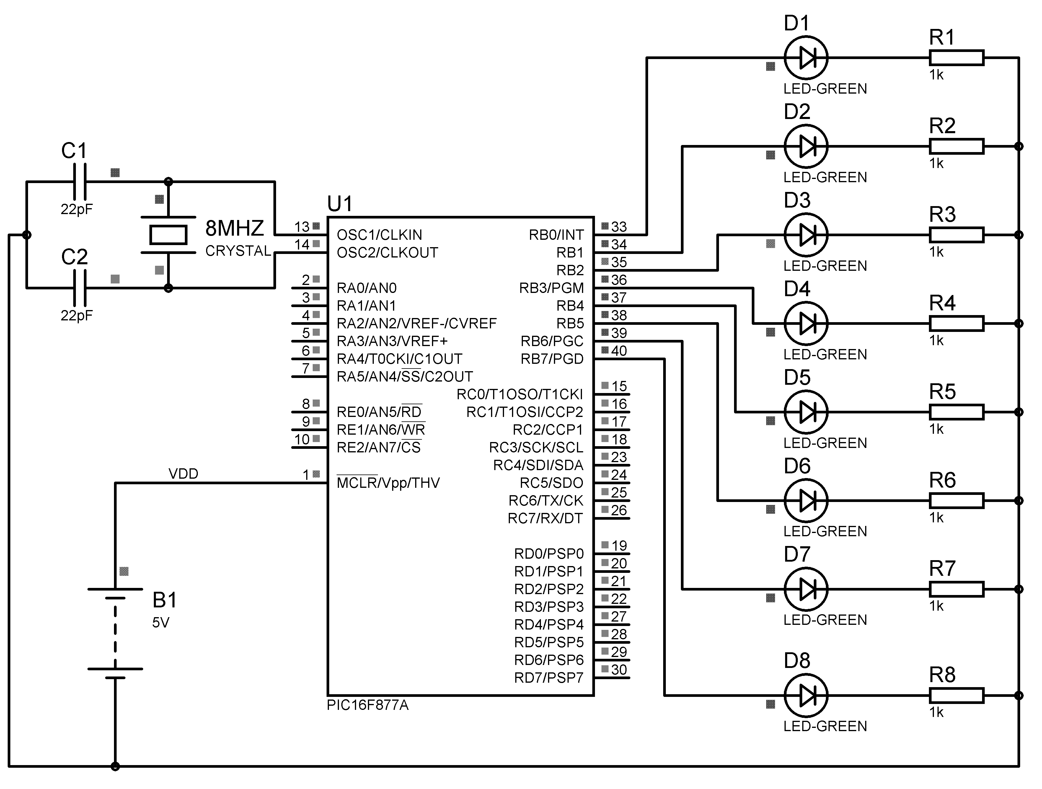Led Chaser Using Pic Microcontroller Mikroc Note 3 Circuit Diagram