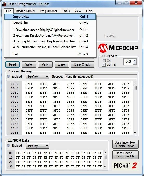 To Import Hex - PICKit2 Programmer Tool