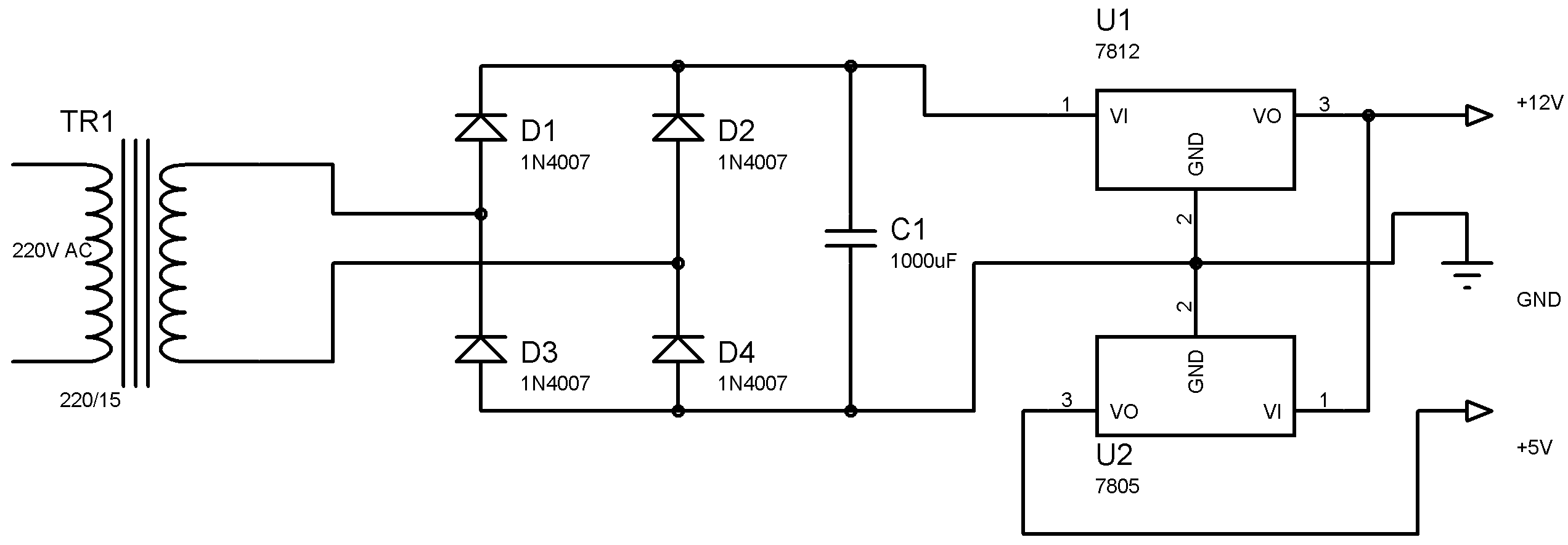 Water Level Indicator Controller Using Pic Microcontroller Electronics Circuit Diagram Projects 1 Power Supply Section