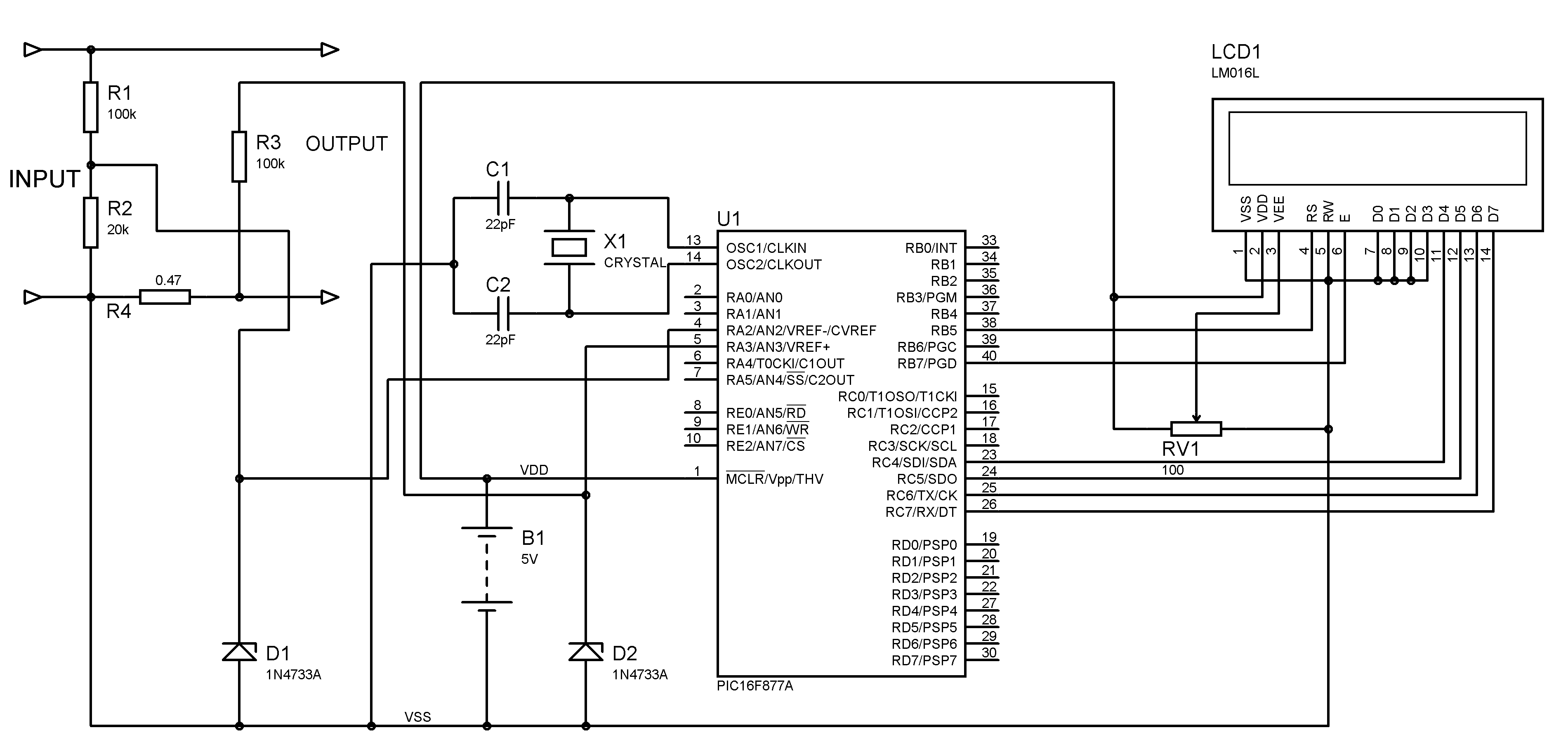 Voltmeter And Ammeter Using Pic Microcontroller Digital Clock 8051 Lcd Display Mini Project Circuit Diagram