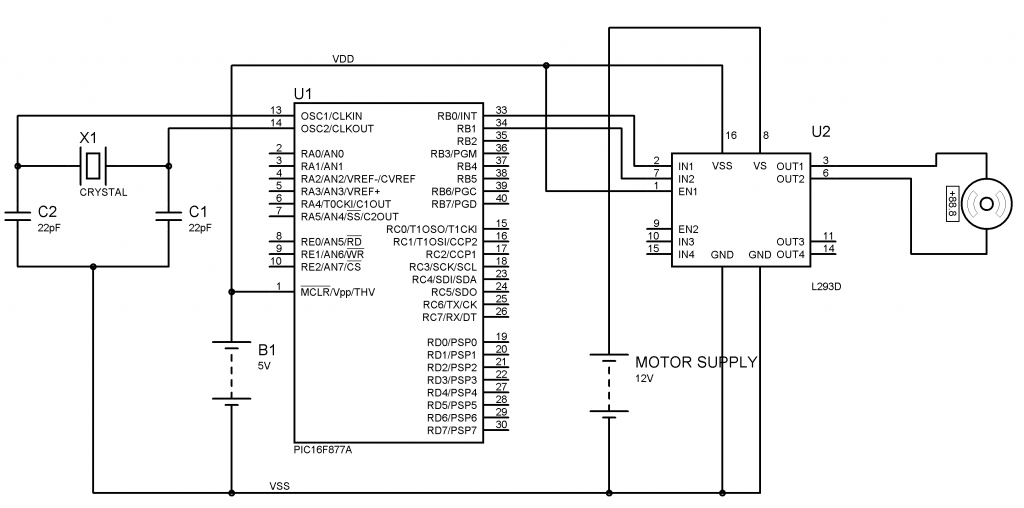 Interfacing DC Motor with PIC Microcontroller and L293D Circuit Diagram