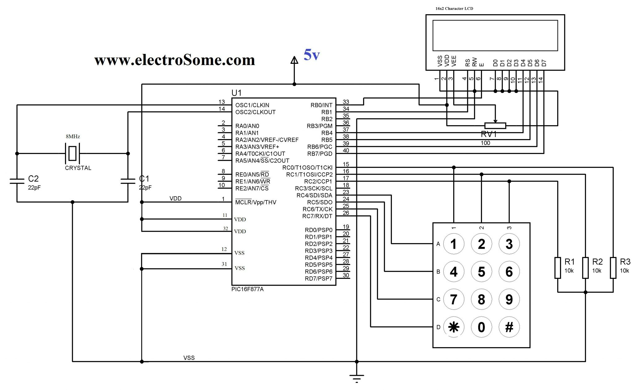 interfacing keypad pic microcontroller using mikroc library matrix keypad mikroc library circuit diagram