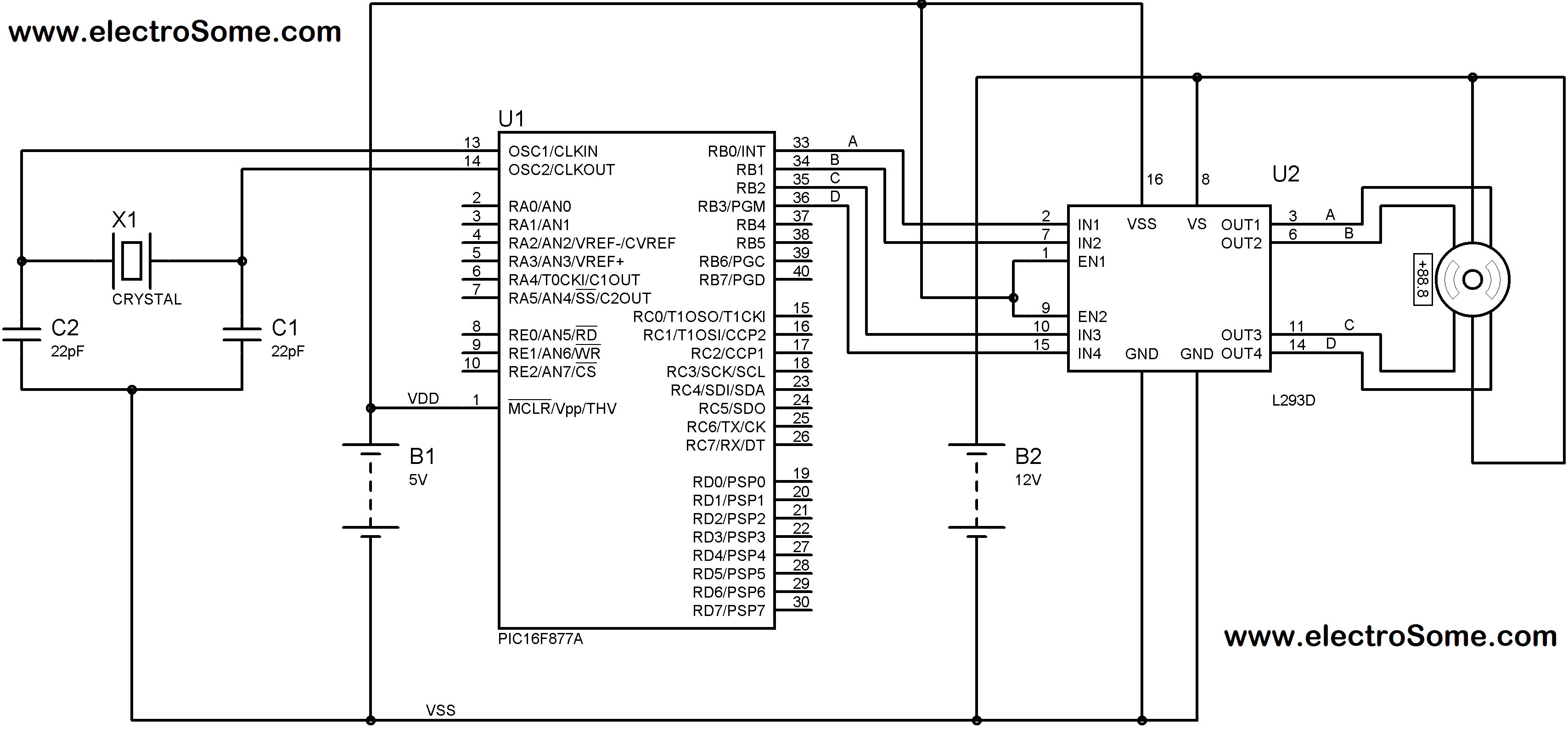 Interfacing Unipolar Stepper Motor with PIC Microcontroller using L293D Circuit Diagram