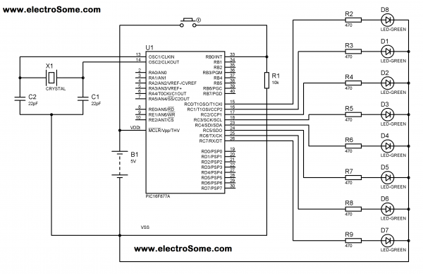 Using Interrupt with PIC Microcontroller Circuit Diagram