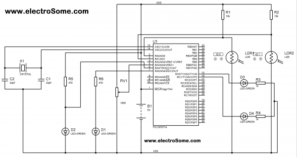 Using Analog Comparator in PIC Microcontroller Circuit Diagram
