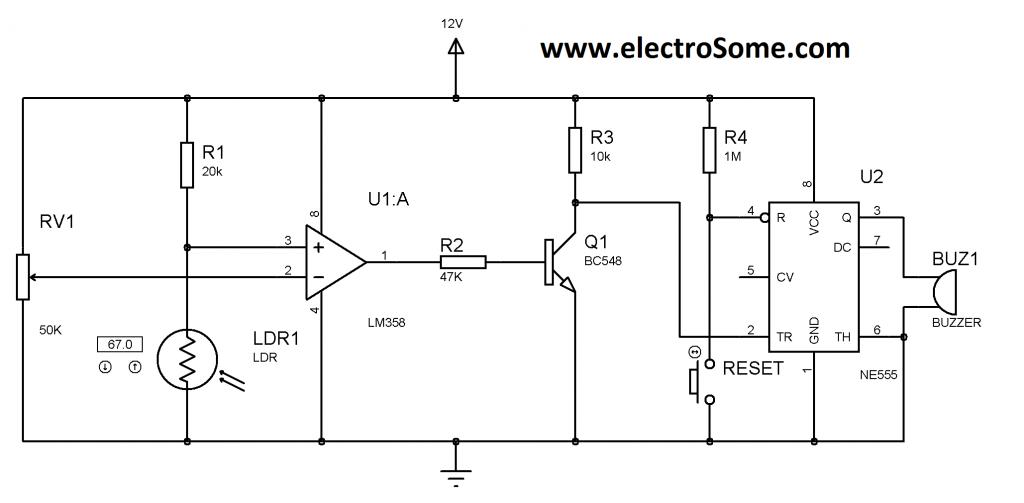 Laser Security System Circuit Diagram