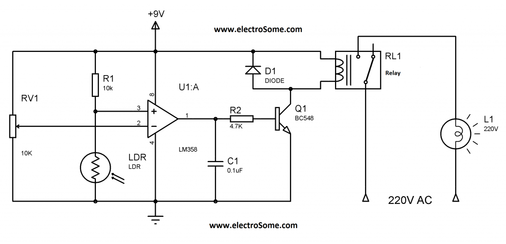 Automatic Garden Light Controlling System Circuit Diagram