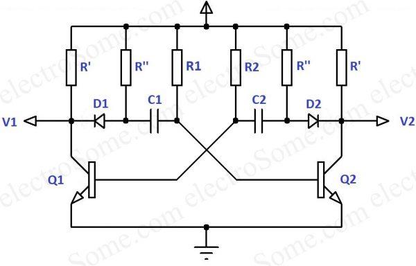 Astable-Multivibrator-Using-Transistors with Sharp Edges