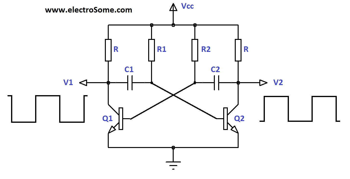 Astable Multivibrator Using Transistors Transistor Power Lifier Circuit Diagram On 50 Amp Wiring A