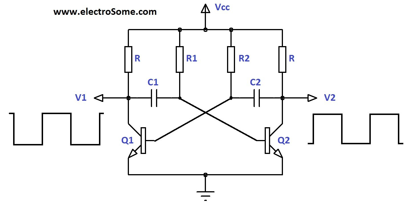Astable Multivibrator Using Transistors Wide Range 555 Vco Circuit Schematic