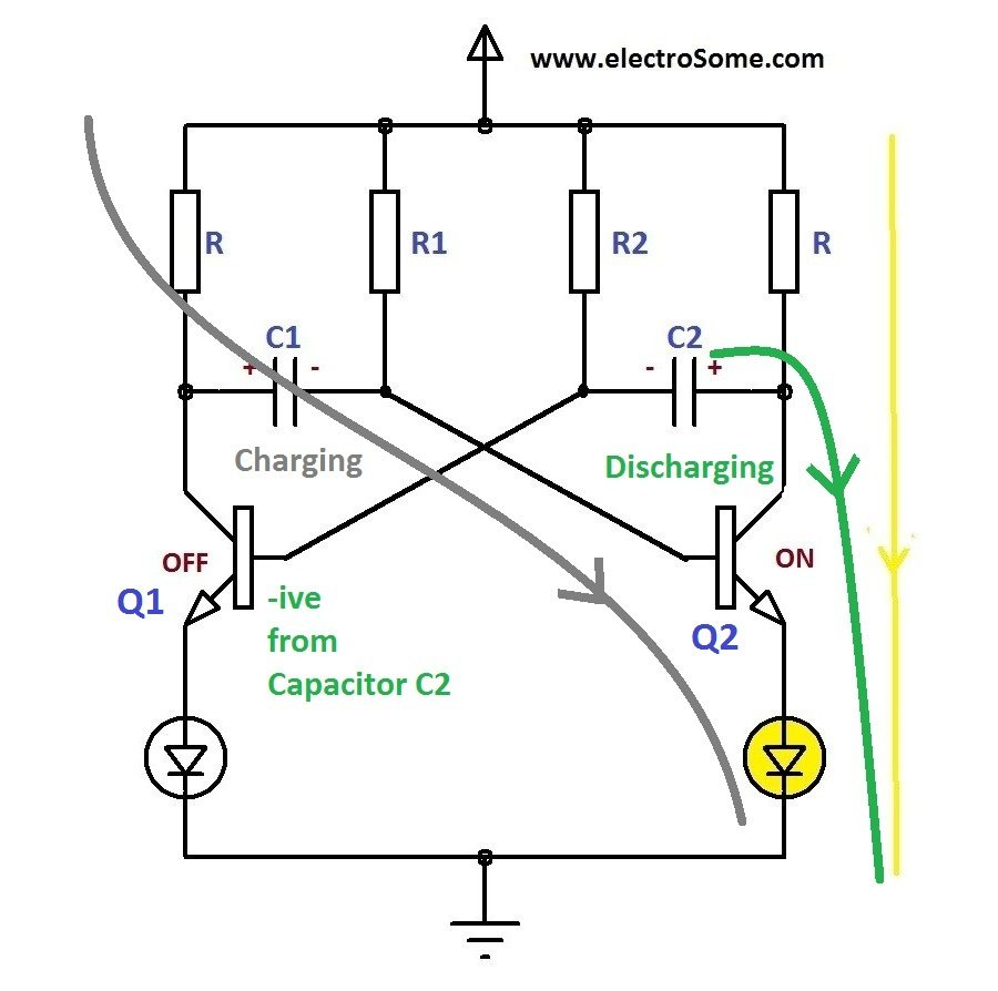 Astable Multivibrator Using Transistors Two Way 12 Led Running Lights Cd4017 And Ne555 Transistor Working Off