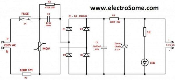 Capacitive Transformer Less Power Supply - Circuit Diagram