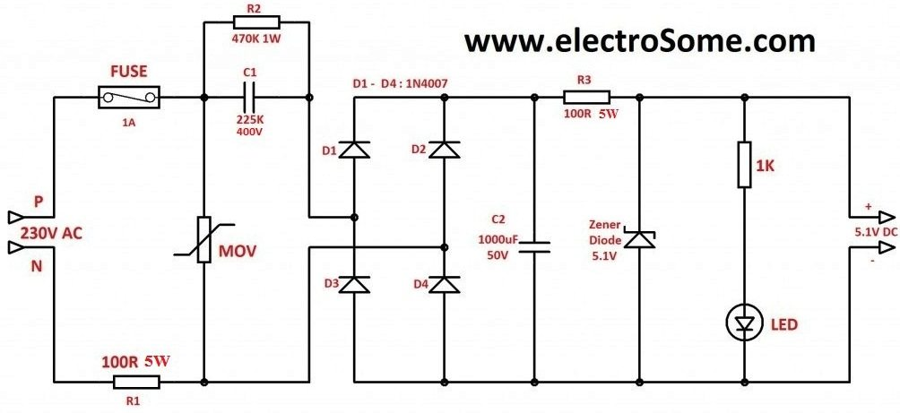 Capacitive Transformer Less Power Supply Circuit Diagram transformerless power supply  at eliteediting.co