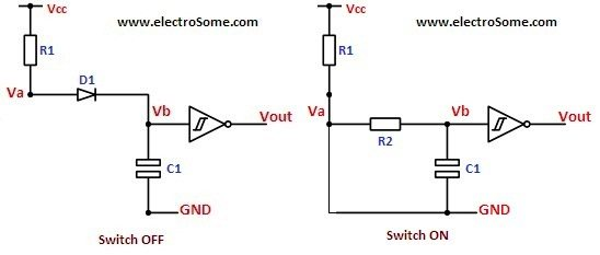 RC Switch Debouncer with Diode Working
