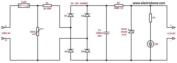 Resistive Transformer Less Power Supply Circuit Diagram