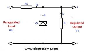 Zener Diode Voltage Regulator Circuit Diagram