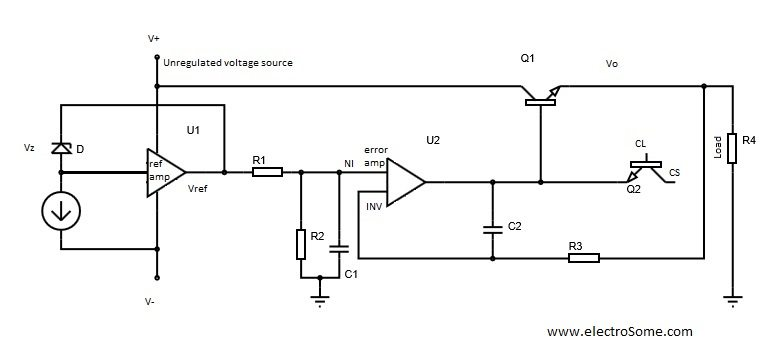 Low Voltage Regulator using LM723 with Internal Diagram