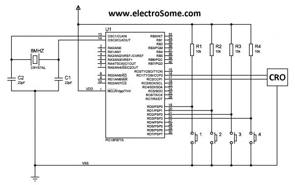 Using Internal PWM Module PIC Microcontroller Circuit Diagram