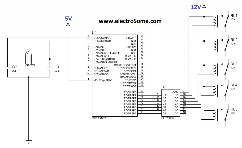 Interfacing Relay with PIC Microcontroller using ULN2003
