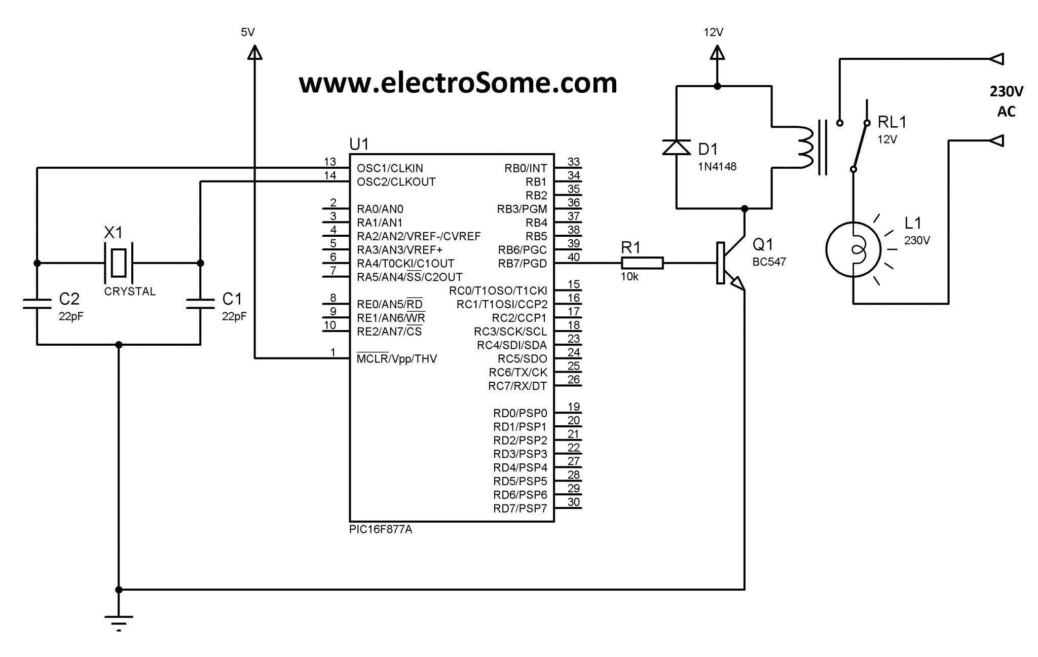 Interfacing Relay With PIC Microcontroller MikroC - Relay Circuit With Transistor