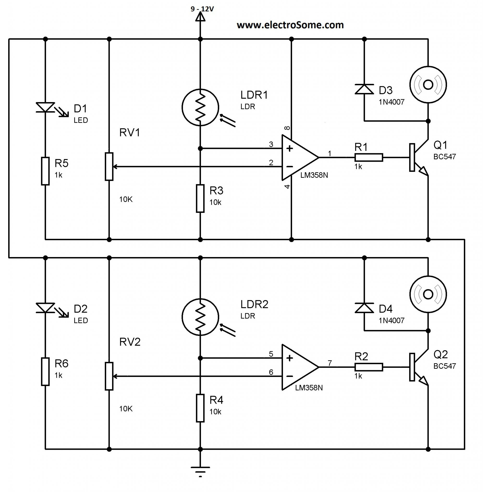 Sensor Line Follower Robot Without Using Microcontroller Circuit Diagram Ldr