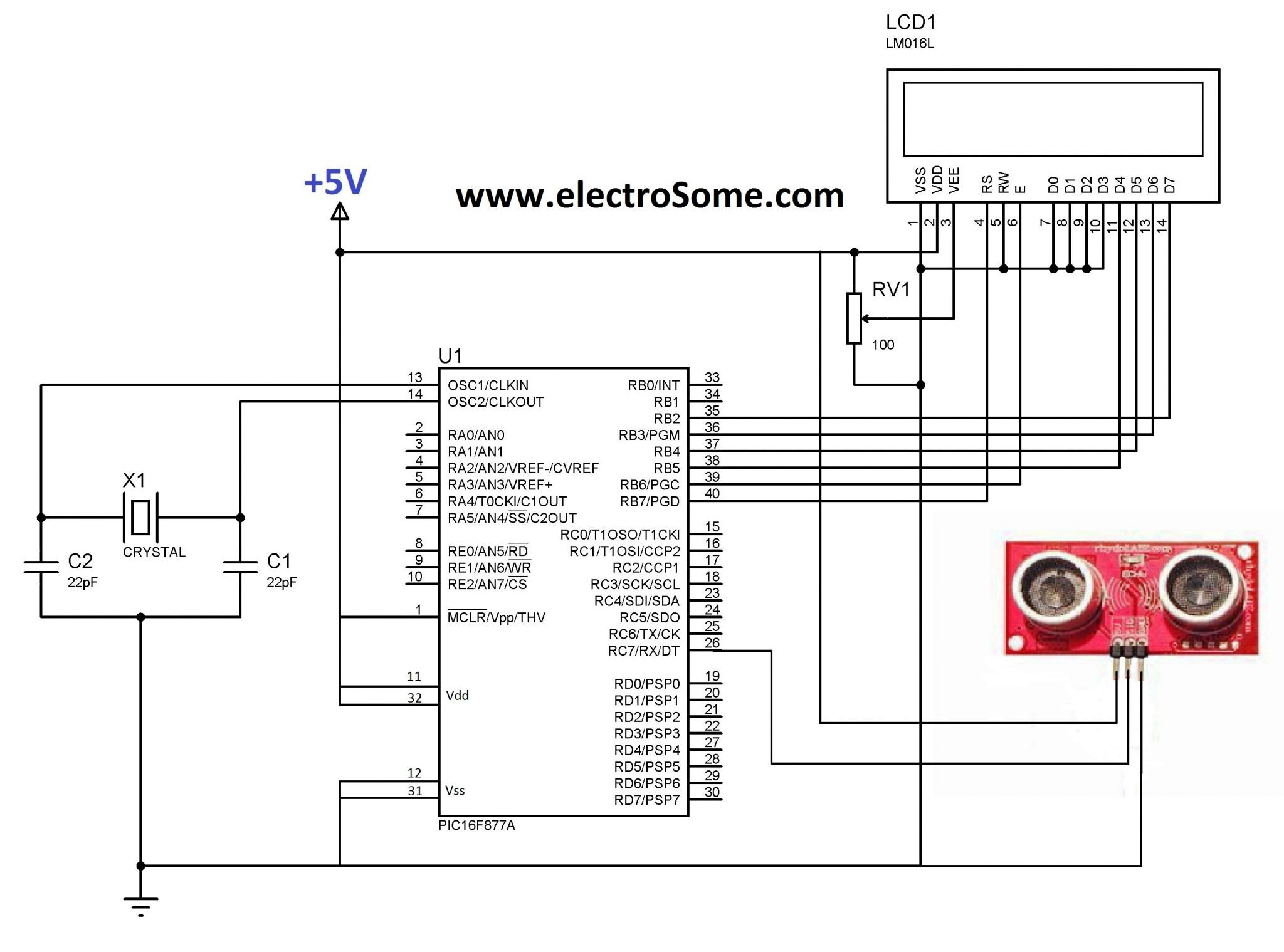 interfacing ultrasonic distance sensor ascii pic microcontroller circuit diagram interfacing ultrasonic sensors pic microcontroller