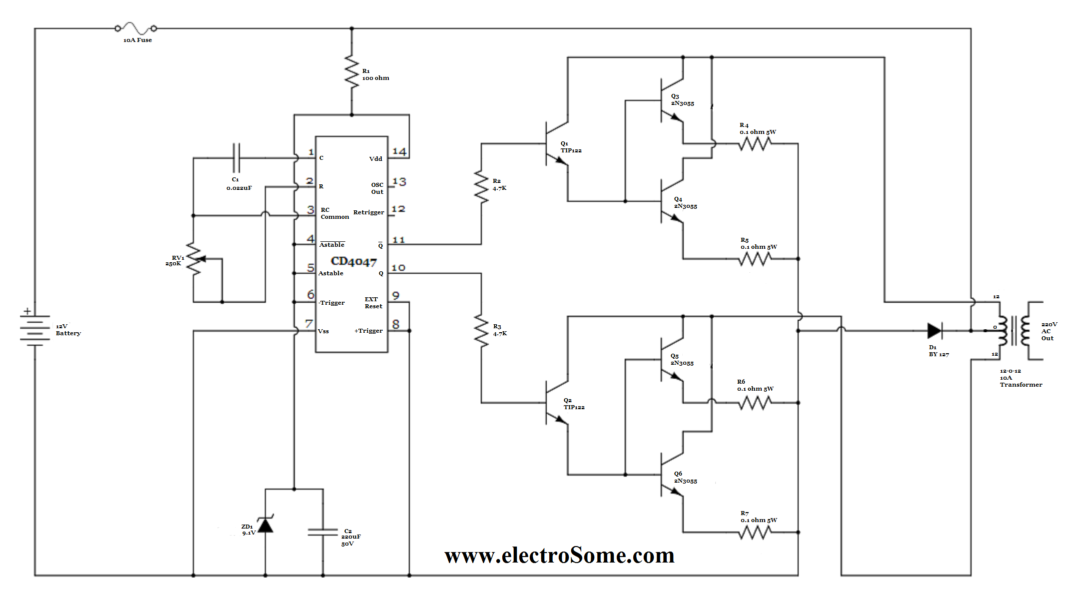 Simple Inverter Circuit using CD4047 low power square wave inverter circuit using cd4047 inverter circuit diagram at readyjetset.co