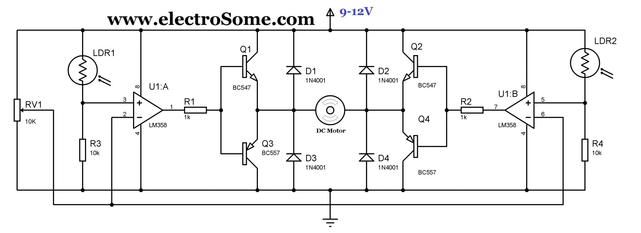 simple solar tracker circuit using lm358 rh electrosome com solar sun tracker circuit diagram solar tracker schematic diagram