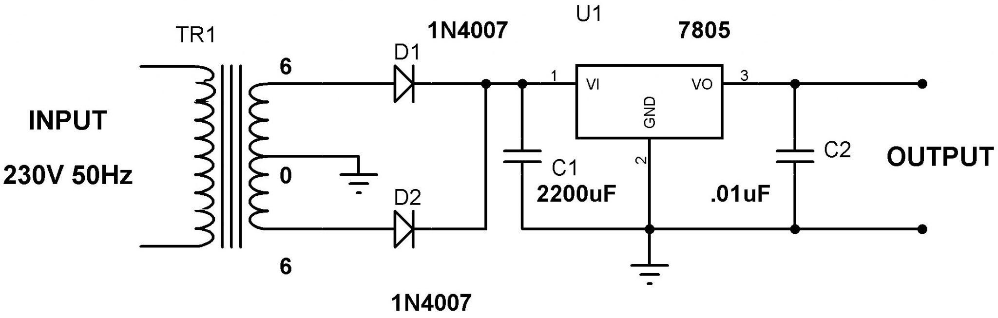 5v power supply using 7805 voltage regulator with design