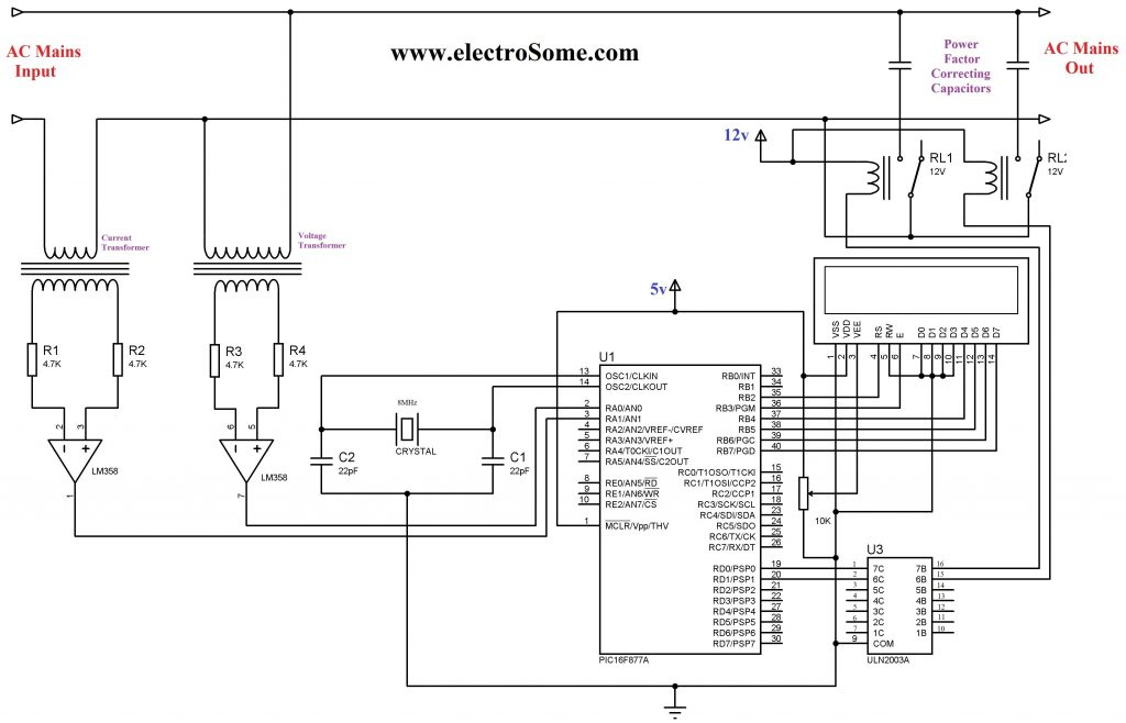 Automatic Power Factor Controller using PIC Microcontroller Circuit Diagram