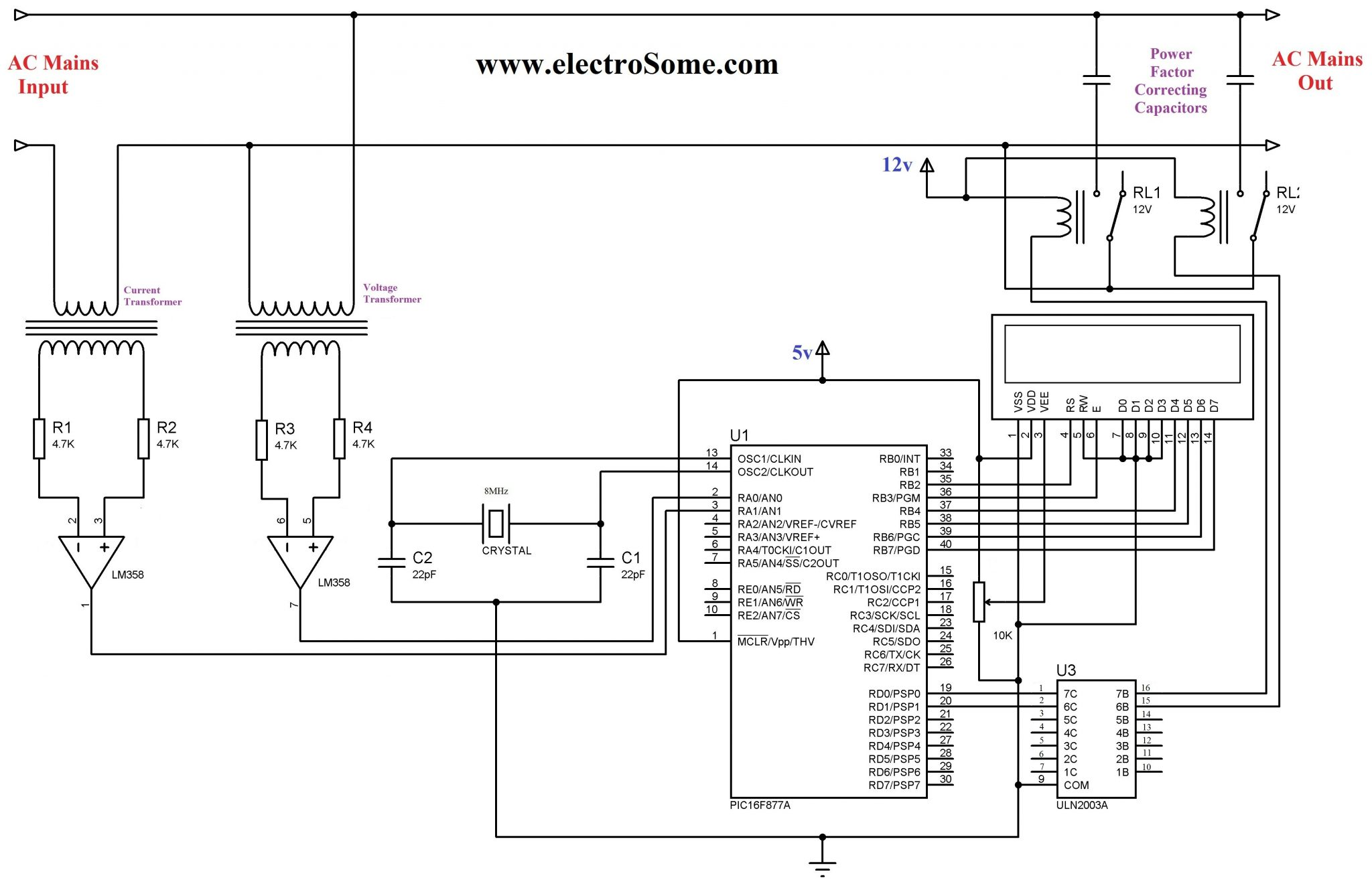 Automatic Power Factor Controller Using Pic Microcontroller Based Schematics Circuits Projects And Tutorial Circuit Diagram