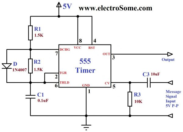 FM Generation using 555 Timer - Circuit Diagram