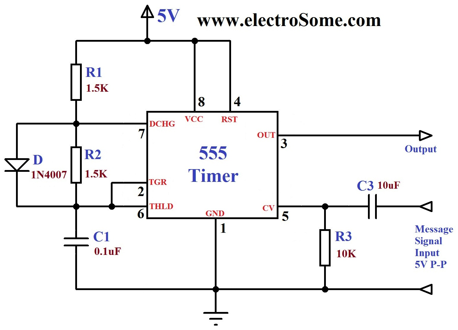 Fm Generation Using 555 Timer Mobile Phone Detector Circuit Diagram