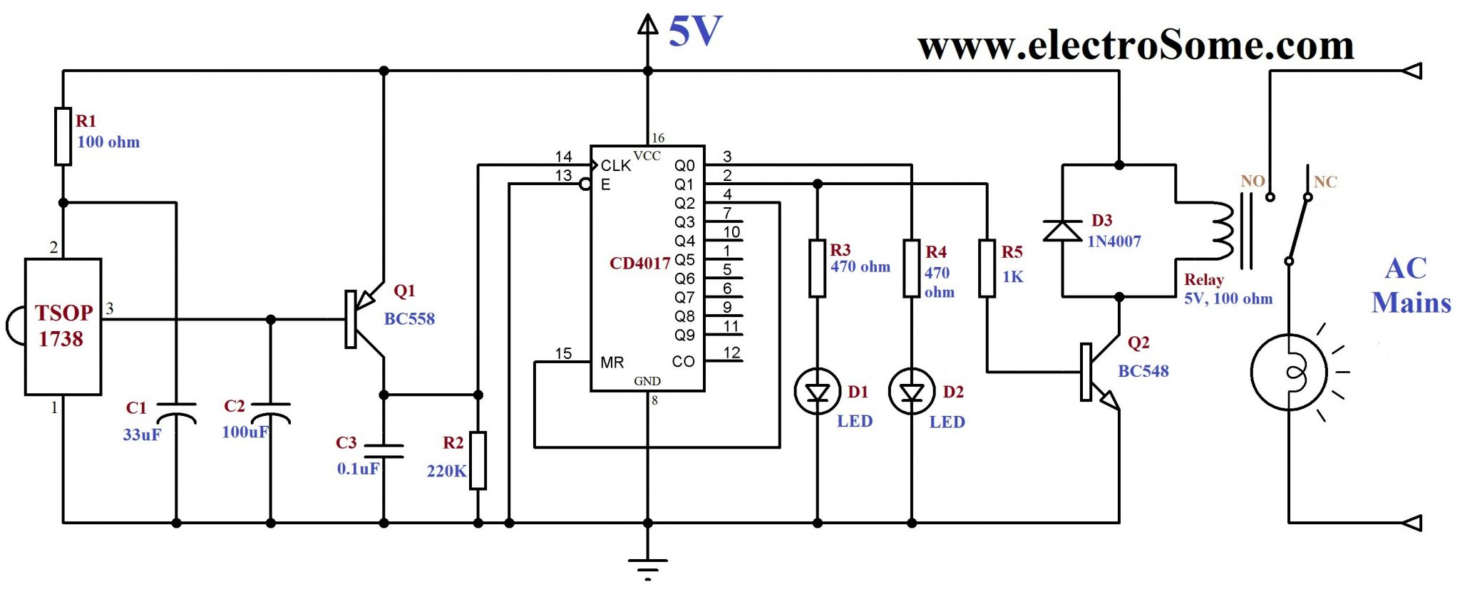 infrared remote control for home appliances rh electrosome com remote control circuit diagram pdf wireless remote control circuit diagram
