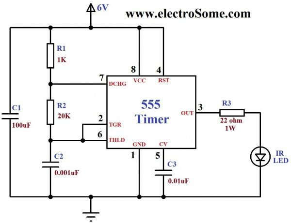 ir transmitter receiver using 555 timer  led and tsop1738