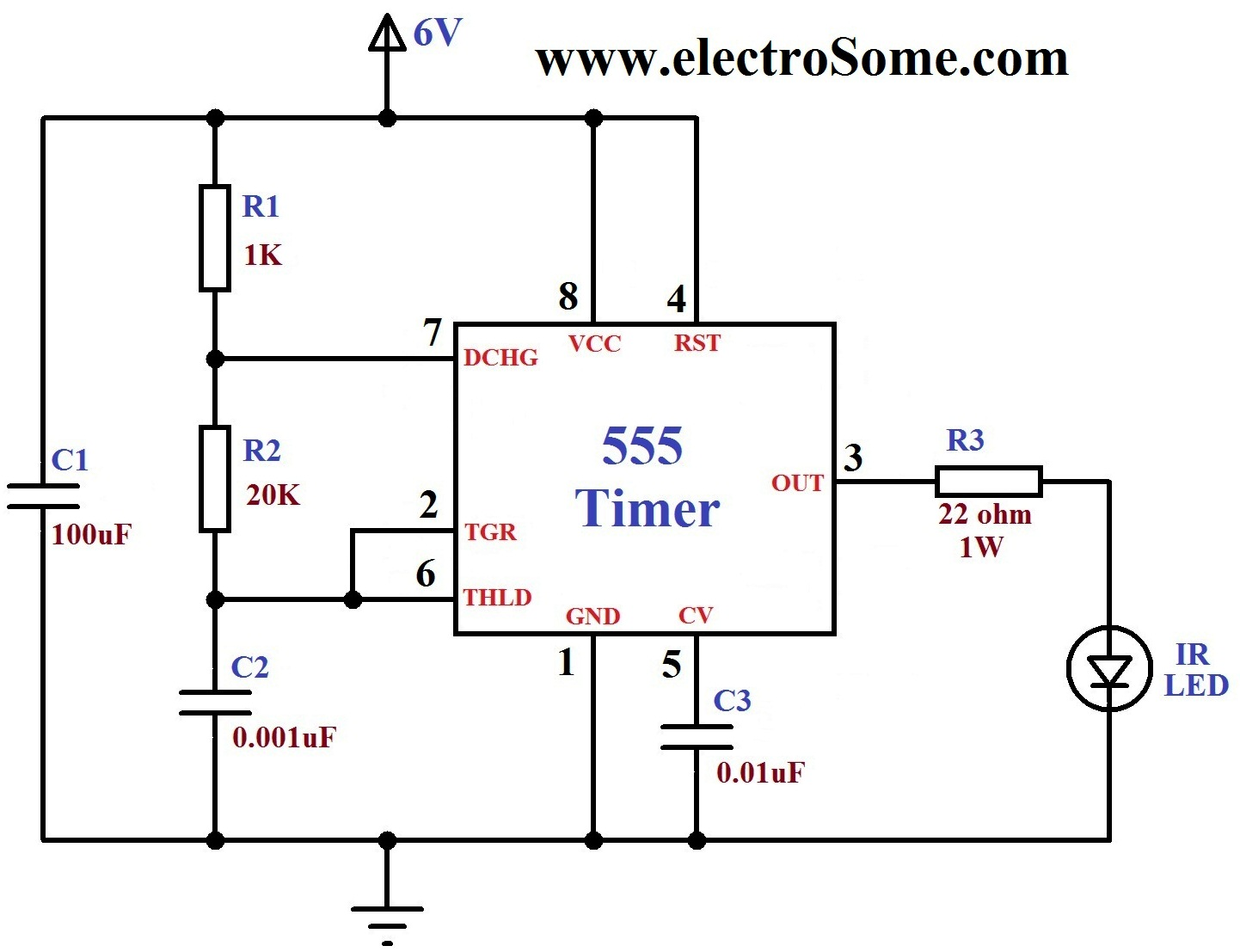 Ir Transmitter Receiver Using 555 Timer Led And Tsop1738 Variablerangeledvoltmeterprojectcircuit For