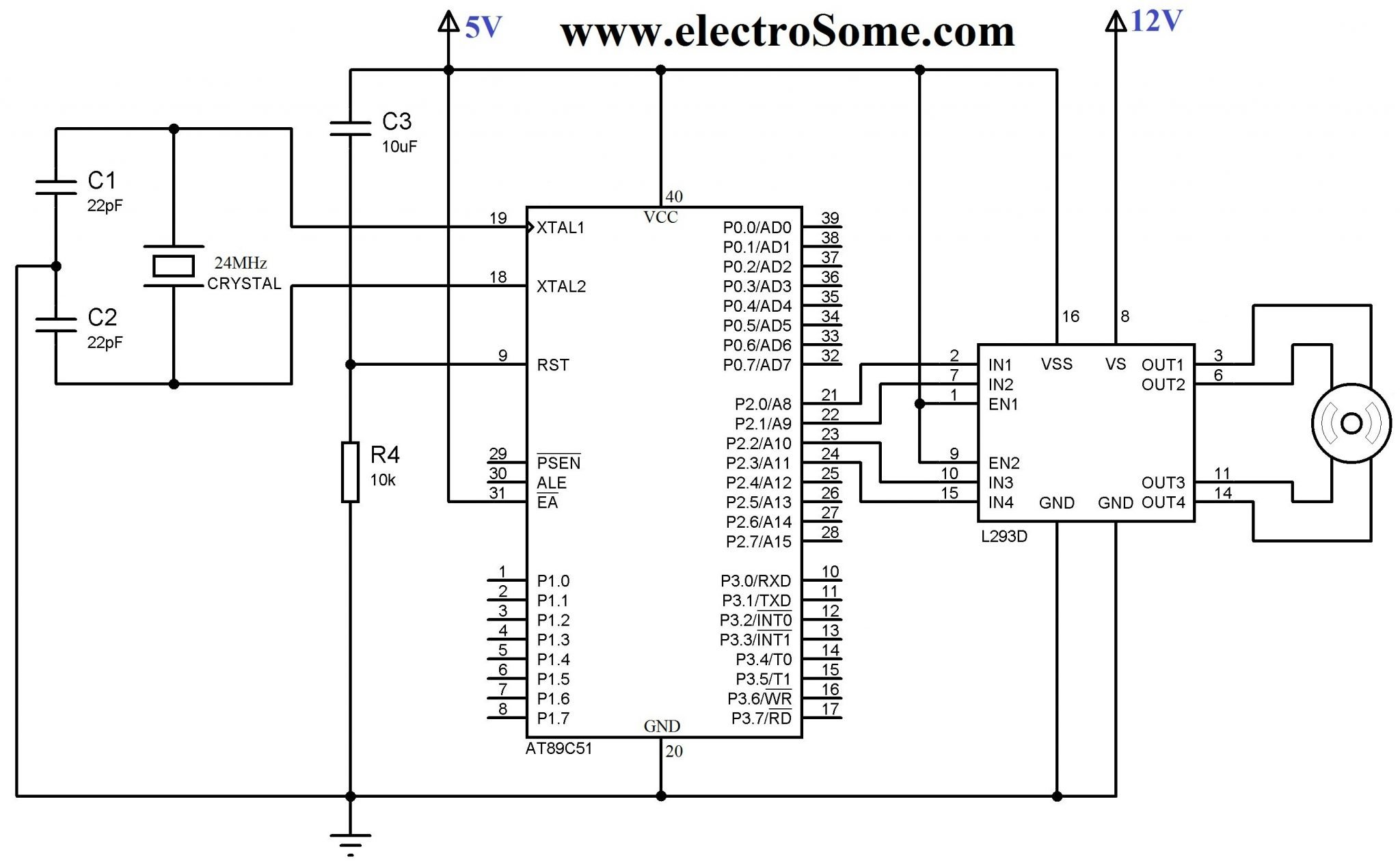 interfacing stepper motor 8051 using keil c at89c51 circuit diagram interfacing bipolar stepper motor 8051 using l293d