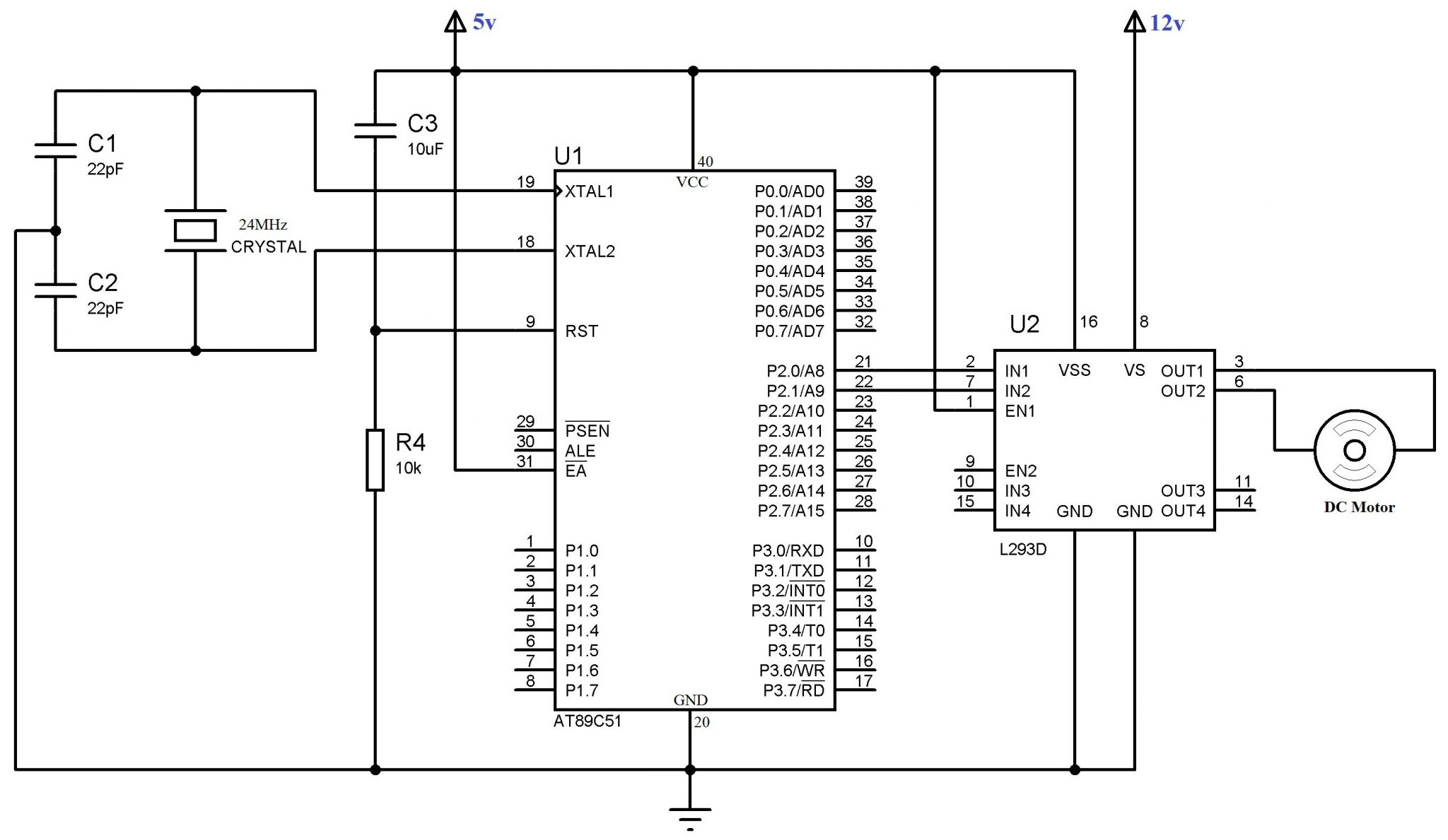 Interfacing Dc Motor With 8051 Using L293d At89c51 Keil C Pir Sensor Circuit Diagram Lm324