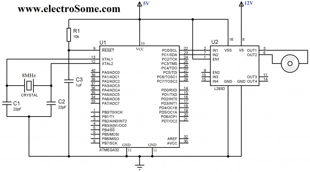 Interfacing DC Motor with Atmega32 Microcontroller - Circuit Diagram