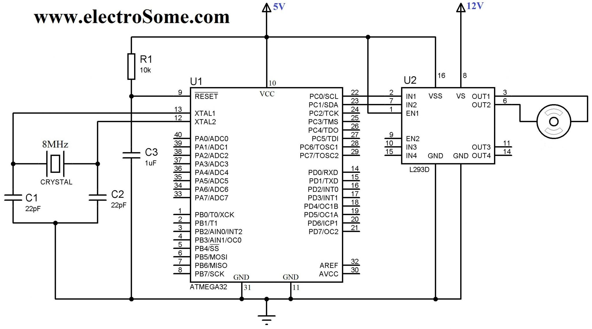Interfacing Dc Motor With Atmega32 Avr Microcontroller Using L293d Diagram Together L298 H Bridge Circuit Pin On